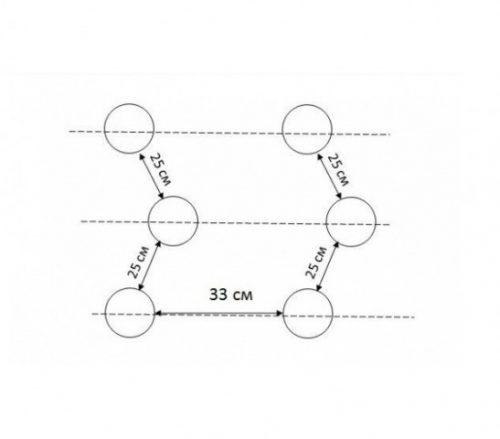 схема розміщення отворів на перфорованому агроволокні, 3 ряди